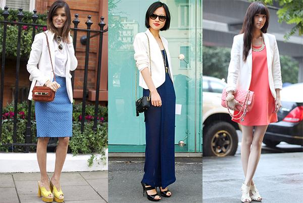 Как носят пиджак с коротким платьем